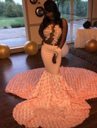 Wholesale Gold Peach Prom Dress - African Peach Mermaid Prom Dresses 2018 Sexy Illusion 3D Rosettes Chapel Train Prom Gowns Black Girl Evening Party Dress