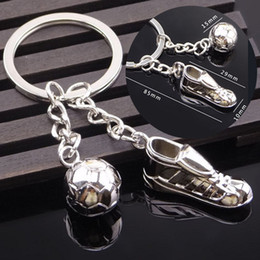 Wholesale Gift Football World Cup - Creative 3D Shoes Football keychain Soccer Ball Stainless Steel Metal Keychain Keychains Ring Gift World Cup souvenir YYA1125