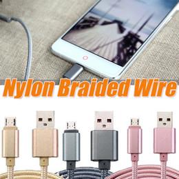 Wholesale Usb Plug Types - Micro USB Cable Nylon Braided Wire Metal Plug Data Sync Charging Data Microusb Charging Cable 1M 3FT 2M 6FT 3M for android devices