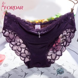 Wholesale Ladies Ruffle Panties - FORDAR Hot Sale Women's Lace Panties 3pcs lot Low Rise Seamless Traceless Underwear Panties Briefs Ladies Lingerie