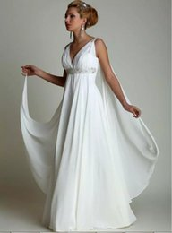 Wholesale white greek style dresses - Wedding Dresses With Watteau Train 2018 Sexy V-neck Long Chiffon Grecian Beach Maternity Wedding Gowns Grecian Greek Style Bridal Dress