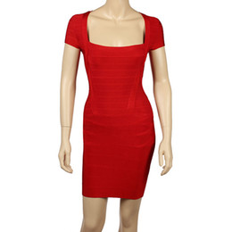 vestidos de color naranja rosa caliente Rebajas Vestidos del vendaje del rayón de Spandex nuevas mangas cortas Vestidos del partido de las mujeres de Aumumn con el cuello slash Vestidos atractivos del Bodycon rojos