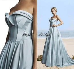 Wholesale Al Training - Hamda Al Fahim Pleats A Line Evening Dresses pale blue Sweetheart Sweep Train Evening Gowns Formal Simple Cheap Prom Dress