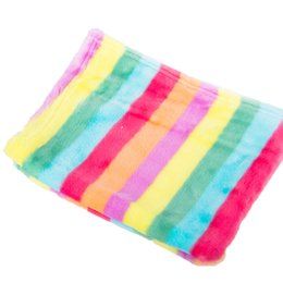 Wholesale Pet Flannels - 55*40cm Colorful Striped Soft Warm Flannel Towel Pet Dog Accessories