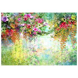 Peinture photo verte en Ligne-5x3ft peinture à l'huile toile de fond vert aquarelle fleurs fleuri jardin printemps paysage fond pour la photographie photo studio prop
