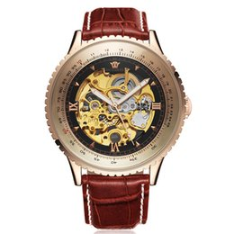 Relógios do ouyawei on-line-Men Watch Top Relógio Mecânico Automático de couro Relógios Relógio homens Relojes Masculino Big Dail OUYAWEI saat
