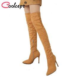 ff4b155c0028b Coolcept Plus Size 32-46 Mulheres Sapatos de Salto Alto Botas Com Zíper Dedo  Apontado Sapatos Quentes de Inverno Sobre O Joelho Botas Moda Calçados