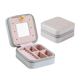 Wholesale small mirrored boxes - Creative Small Jewelry Box Portable Travel Jewelry Case Serpentine Leather Earrings Storage Box With Mirror Women Girls Gift Free DHL H249F