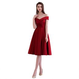 Wholesale FADISTEE Nuevos y elegantes vestidos de cóctel vestidos de noche vestidos de fiesta estilo satinado A line con cuello en V moderno y sin respaldo con cordones