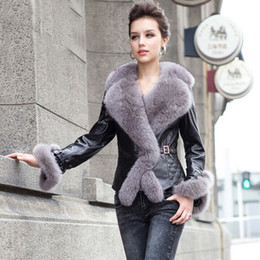 Wholesale Fur Coat Leather Belt - Wholesale-Real Fur Coat Women 2017 New Winter Sheepskin Genuine Leather Jacket With Large Fox Collar Belt Short Slim Warm Down Coats