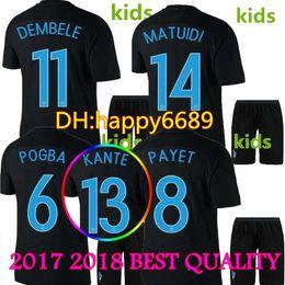 Wholesale France Football Kits - New 2017 2018 Thai quality FRanCE black kids soccer jerseys 17 18 POGBA PAYET BENZEMA Griezmann football jersey kits shirts