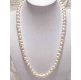 "Wholesale yellow gold chain 22 - 22"" 9-10mm Genuine white akoya pearl necklace 14K Yellow Gold Clasp"