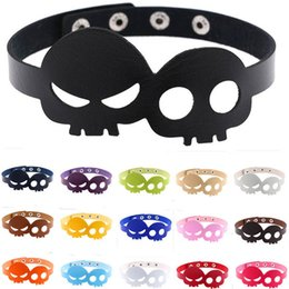 Wholesale necklace props - Skull Necklace Ghosts Halloween Make Up Color Leather Women Designer Necklaces For Cosplay Fashion Party Decoration Prop 5kf ff