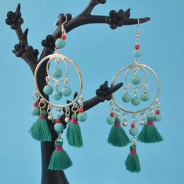 Wholesale European Style Bead Earrings - European Style Tassel Earrings Women Red Blue Yellow Bohemian Fringed Dangle Earrings Statement Jewelry Gift Turquoise Beads Earrings Hoop