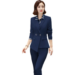 ad837a42ad8c New Blazers Suit Simple Women Pants Suits 2 Two Piece Sets Long Slim Jacket    Pants Female High quality Business Office Lady 5XL