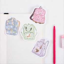 Wholesale Korean Stationery Stickers - 1X DIY Creative schoolbag backpack Memo Pad Sticky Note Kawaii Paper Sticker Pads Post It Note Creative Korean Stationery