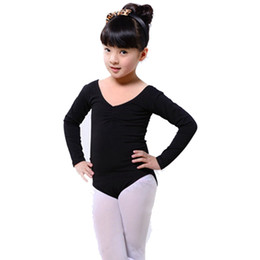 Длинный рукав конька онлайн-Kid Long Sleeve Ballet Girls Dance Dress Fitness Gymnastics Skating Wear Leotard Costume