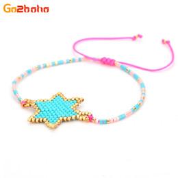 Bracelets étoile bleue en Ligne-Go2boho Bleu Hexagram Bracelets pour Femmes Étoiles Colorées Miyuki Perles Chaîne Chanceux Bracelet Réglable Bijoux pulseira masculina