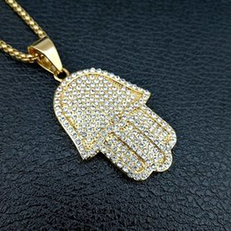 Wholesale Mens Chain Sizes - free chain mens jewelry hip hop bling sized micro pave cubic zirconia hamsa hand icedd out cool mens chain necklace
