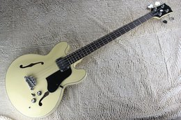 Wholesale Rice Toppings - free shipping Top Quality Lower Price Custom Rice yellow jazz Hollow Body 4 String jazz electric bass guitar