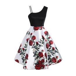 Vestito rosso da promenade midi online-Vintage Midi Dress Strap Midi Donne 2018 New Sleeveless vita alta espansione in raso femminile Prom Rose stampa abiti rossi sexy