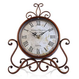 Wholesale Vintage Table Numbers - European Vintage Royal Style Retro Wrought Iron Craft Table Clock Roman Number Round