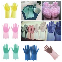 посудомоечные перчатки Скидка Магия силиконовые мытья посуды перчатки Эко-скруббер очистки для многоцелевой кухня кровать Ванная комната уход за волосами MMA834 60pair