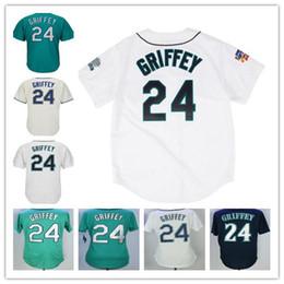 Wholesale Stitch Blue - men's Seattle #24 Ken Griffey Jr Green Black Gray White Blue Jersey Wholesale Baseball Jerseys Stitched