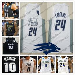 pacote de lobo Desconto Personalizado Nevada Wolf Pack College Basquete branco preto Costurado Qualquer Número de Nome # 10 Caleb Martin 11 Cody 24 Caroline NCAA Jerseys S-4XL