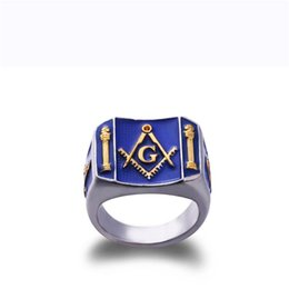 Wholesale mason rings men - Trendy Rhodium Plated Free Mason Rings For Man Stainless Steel Freemason blue lodge Masonic Ring Wholesale Price