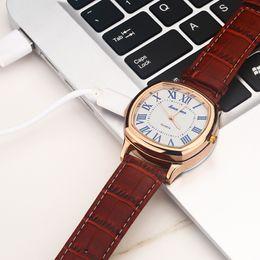 Isqueiros de relógio de pulso on-line-Assista Men Carregamento USB Relógio De Quartzo Mais Leve À Prova de Vento de Cigarro Mais Leve Hot sports Casual relógios de Pulso relógio A0688
