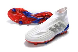tacos de fútbol azul rojo Rebajas 2018 blanco rojo azul Messi Slip-up original Soccer Cleats x Gosha Predator 18.1 FG Soccer Shoes Hombres de calidad superior AAA Pogba Football Boots