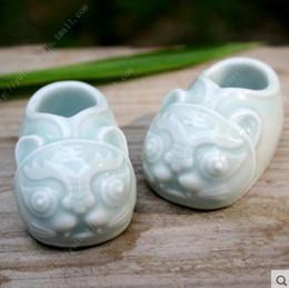 ceramica mini tigre scarpa decorazioni per la casa artigianato decorazione della stanza ceramica kawaii ornamento porcellana figurine di animali da