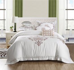Wholesale Bedspread Cotton Satin - IvaRose Egyptian cotton bed linen high thread count satin bedding sets bedspreads white duvet cover set Embroidery bedclothes