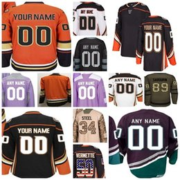 Wholesale red flag design - 2018 New Mens Womens Youth Anaheim Ducks Own Designed Ice Hockey Jersey Custom Home Away Purple Camo Salute Black USA Flag Hockey Jerseys