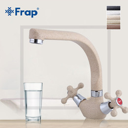 Спрей кухонный смеситель онлайн-Frap Multicolor Spray painting Kitchen sink Faucet Cold and Hot Water Mixer Tap crane torneira Double Handle 360 Rotation F5408