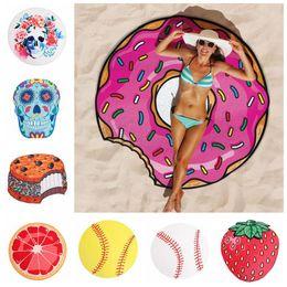 Wholesale fruit scarves - Fruit Flamingo Beach Towel Hamburger Ice Cream Softball Shower Towel Bath Sunscreen Printing Shawl Scarf 150*150cm LJJO4381