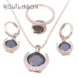 Wholesale 14k Gold Onyx Ring - Gorgeous Silver filled Austrian Black onyx Health Nickel & Lead free Earring Necklace Ring size #6 #8.5 Jewelry Set JS276