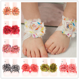 Wholesale Under Socks - 22pairs Shabby Flower Barefoot Sandals Newborn Socks Summer Sandals Kids Foot Band Tie Flowers Fashion Headbands Solid Headwear