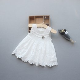 Wholesale White Lace Boat Neck Dress - Ins Hot Selling girl Elegant dress round Collar Sleeveless embroidery flower hollow out girl kids dress summer charming white dress