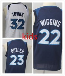 Wholesale Blue Jimmies - NCAA 2018 New kids #23 Jimmy Butler Jersey #32 Karl-Anthony Towns Youth #22 Andrew Wiggins Basketball Jerseys Blue Black Shirt