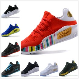 Wholesale Final Gold - 2018 Stephen Curry 4 Basketball casual Shoes steph Mens Curry 4 Gold Championship MVP Finals Sports training Sneakers Run Shoes Size 40-46