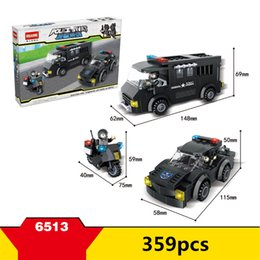 Wholesale Toy Police Cars Models - 359pcs+ HSANHE City Police SWAT Series 3 models motor car Blocks DIY assembly Construction Building Toys For Children #6513