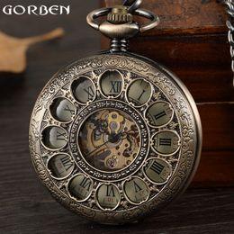 495fa2e3852 Vintage Steampunk Mens Mecânica Mão-vento Relógio de Bolso Oco Roman Dial Bronze  Retro Esqueleto Relógio Relógios de Bolso Cadeia FOB mens skeleton hand ...