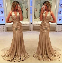 Wholesale Sexy Girls Western - 2018 sexy elegant long evening gowns satin fabric black girl western country style for woman dress gold prom formal dresses mermaid