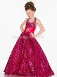 Argentina Venta caliente nuevos vestidos de niña de lentejuelas de oro 2018 del cuello del cabestro de la princesa Little Kid desfile del partido vestido de bola del tren por encargo Suministro