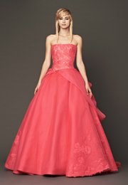 Elegant Red Organza Tulle Strapless Applique A Line Wedding Dresses Bridal Gowns Custom Size 2 18 KW723006