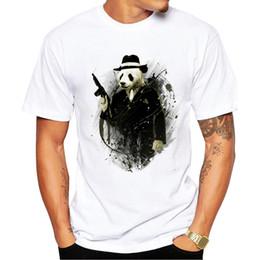 Wholesale Real Guns - 2017 Short Sleeve Men T Shirt New Fashion The Real Gangster Printed T-shirt O-Neck Tops Panda With Gun Cool Tee Shirts