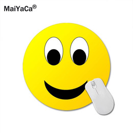 MaiYaCa Smiley Face Rodada Almofada De Borracha Tapetes De Mouse Decorar Sua Mesa cheap smiley pad de Fornecedores de almofada de smiley