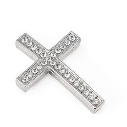 Connecteur traverse fabrication de bijoux en Ligne-Croix en métal connecteur perle bricolage shamballa bracelet couleur argent blanc cristal clair incrustation pour la fabrication de bijoux